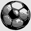 Soccer ball to be printed online, with white hexagonal faces and black pentagonal faces.
