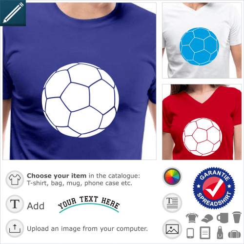 White monochrome soccer ball to customize. The color can be changed. Create an original soccer t-shirt.