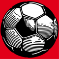 Two-colour soccer ball with an opaque background and hexagonal and pentagonal faces.