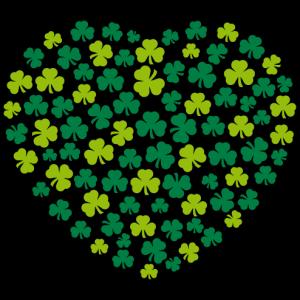 Heart composed of Shamrocks, design for Saint Patrick's Day. Heart Ireland