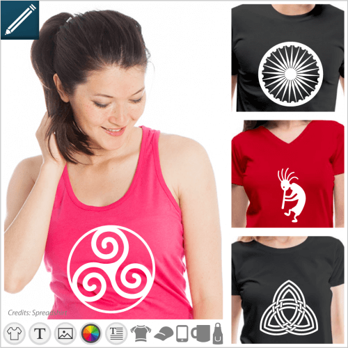 Symbol t-shirt to personalize online, symbolic signs and patterns to adapt in the designer.