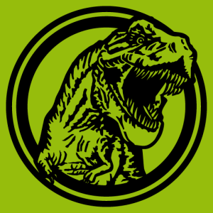 Solid T-rex coming out of a circle, dinosaur design in a customizable color.
