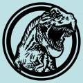 T-rex with an open mouth coming out of a circle, vectorial drawing to customize. T-shirt to customize.