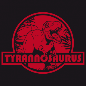 Create your original dinosaur t-shirt with this stylish t-rex cut-out on a red round background.