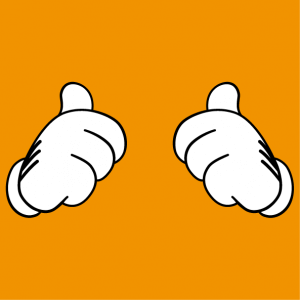 T-shirt thumbs up. Vectorized thumbs up design to customize, opaque Mickey gloves with contour.