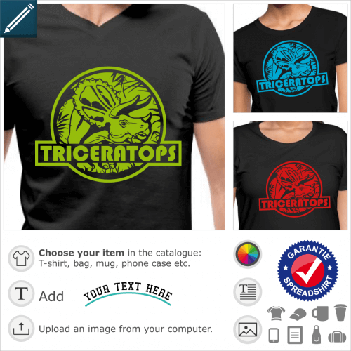 Triceratops t-shirt, jurassic logo with a dinosaur cut out on a background of vegetation. Customize a dinosaur t-shirt.