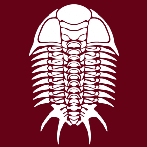 Graphic skeleton of a trilobite, a fossil motif and elegant Halloween decoration to customize.