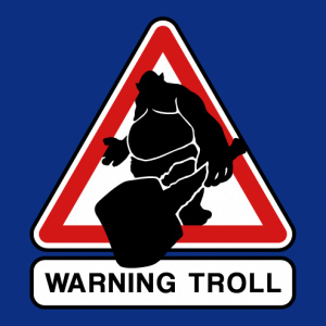 Troll and club, geek pictogram coming out of a traffic sign.