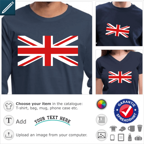 Central cross of the Union Jack flag, perpendicular and oblique red and white stripes to be printed on navy blue t-shirt