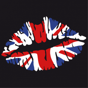 I love UK t-shirt, kiss English flag, 3 color Union Jack design and personalized stylish mouth.