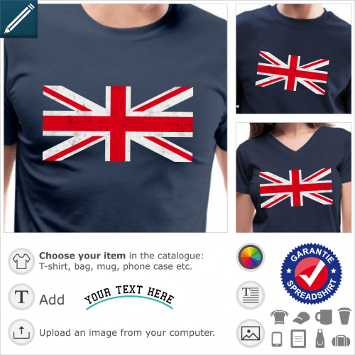 Union jack vintage t-shirt. Vintage customizable union jack, high resolution image of the central cross of the English flag with worn texture.
