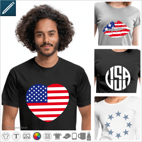 Custom usa t-shirt, American flag and US designs to print online.