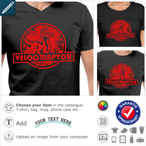 T-shirt velociraptor to personalize. Dinosaur t-shirt with round raptor logo inspired by Jurassic Park