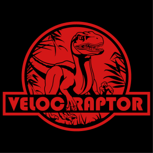 T-shirt raptor, velociraptor cut on a red round, with jungle shapes and vegetation.