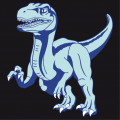 Customizable dinosaur t-shirt, with a velociraptor in full race, designed in 3 colors.