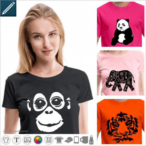 Wild animals and savannah t-shirt to personalize yourself and print online.
