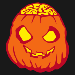 A humorous Halloween pumpkin with a zombie look and a brain that comes out of its skull.