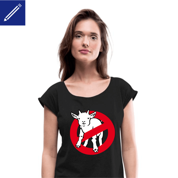 Geek humor t-shirt for women, with a parody of the Ghostbuster logo, I ain't afraid of no goat.