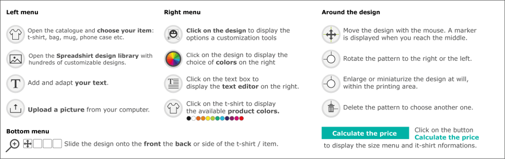 Designer tools, t-shirt customization steps, memo