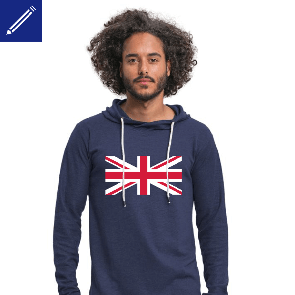 Men's Hoodie with union jack to print online.
